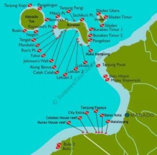 Bunaken Diving Tour Map