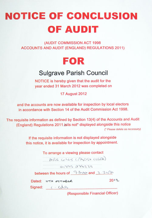 Parish Council Accounts For Audited And