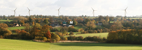 How the turbines would appear from the Barrow Hill footpath. M = Sulgrave Manor