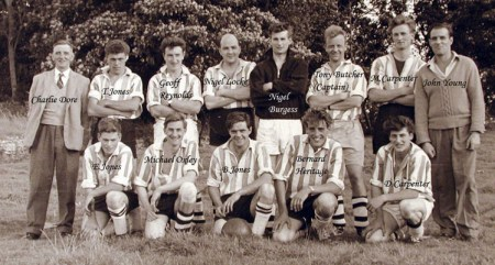 The village football team in 1962, with John Young standing on the far right.