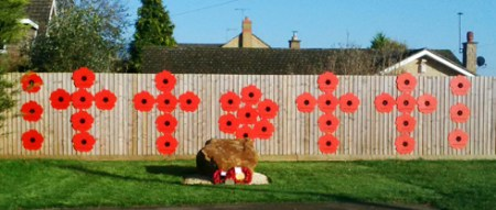 Remembrance Day Poppy Display at Syresham in November 2014. One poppy for each of the fallen.