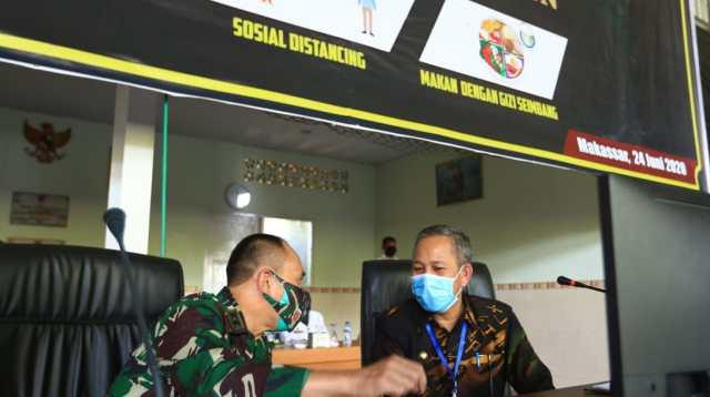 Kodam XIV Hasanuddin Akan Bantu Tegakkan Protokol Kesehatan Covid-19 di Makassar.