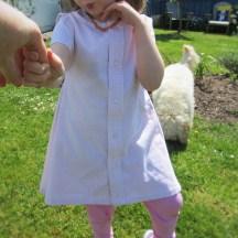 DIY recycled toddler shirt dress.