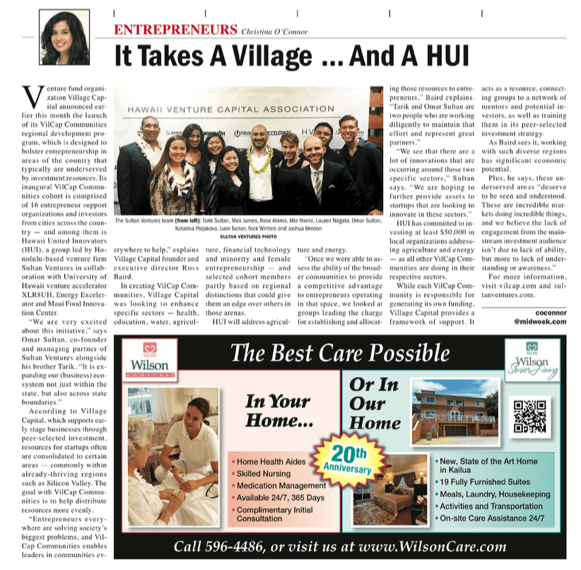 Vilcap-Midweek Article-Sultan Ventures HUI