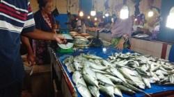 Komoditas ikan di Pasar Basa Mall Mandonga, Selasa (31/12/2019) (Foto: Wa Rifin/SULTRAKINI.COM)