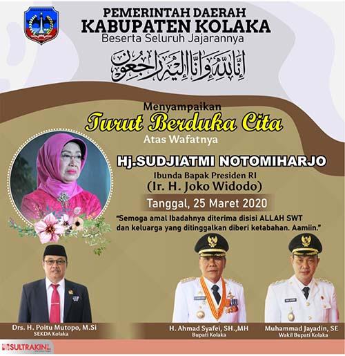 Ucapan Duka Ibunda Jokowi PEMDA KOLAKA