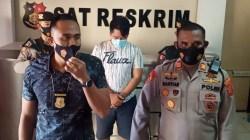 Tersangka ZA saat diamankan Satreskrim Polres Kendari, (Foto: Riswan/SULTRAKINI.COM)