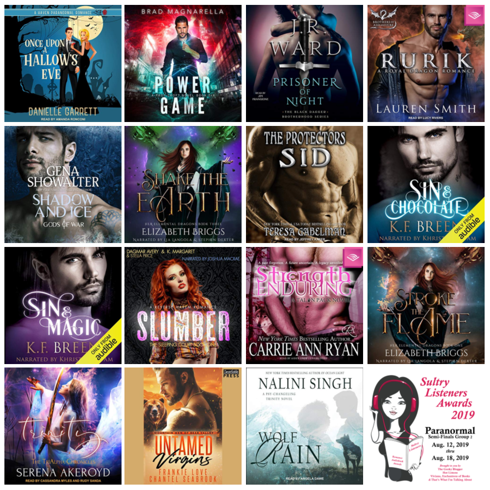 Audiobook Cover Collage: Sultry Listener Awards 2019 - PNR Semi-Finals Aug 5-11