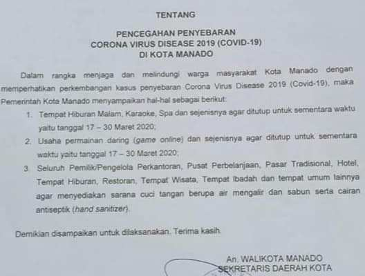 Cegah Penyebaran Covid -19, Pemkot Manado Tutup Sementara Tempat Hiburan Malam dan Sejenis