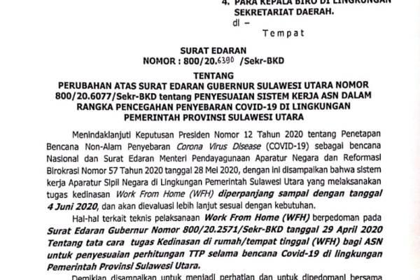 Gubernur Olly Perpanjang WFH ASN dan THL Pemprov Sulut Sampai 4 Juni 2020