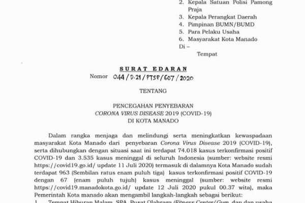 Pencegahan Penyebaran Corona Virus Disease 2019 (Covid 19) di Kota Manado- Tempat Hiburan Malam dan Sejenisnya di Tutup Sementara Sampai 30 Juli2020