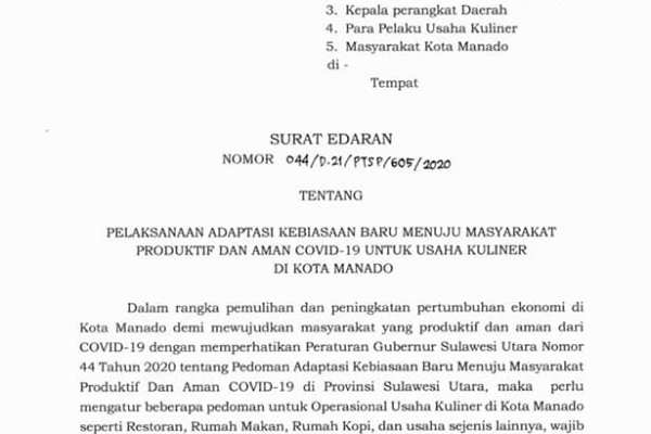 Pelaksanaan Adaptasi Kebiasaan Baru Menuju Masyarakat Produktif dan Aman Covid19 Untuk Usaha Kuliner di Kota Manado