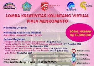 Sambut HUT RI, PINKAN Indonesia-Pemprov Sulut Gelar Lomba Kreativitas Kolintang Virtual Piala Menkominfo