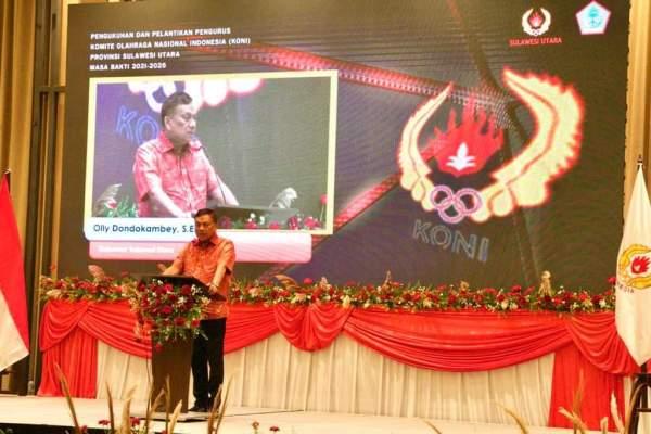 Siapkan Kontingen ke PON Papua, Gubernur Olly Hadiri Pengukuhan dan Pelantikan Koni Sulut