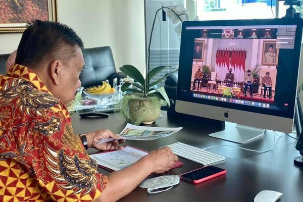 Gubernur Olly Ikuti Rapat Virtual, Jokowi Ingatkan TPID Jaga Stok dan Harga Kebutuhan Pokok