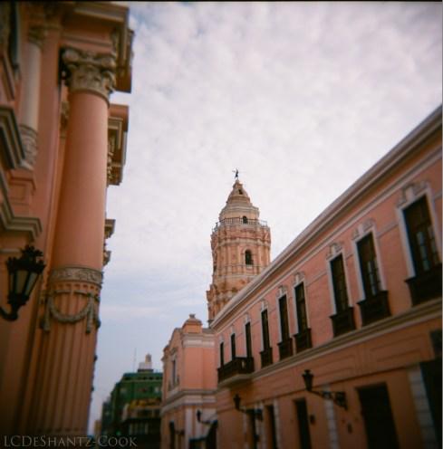pink buildings, Lima city center, Kodak Ektar 100