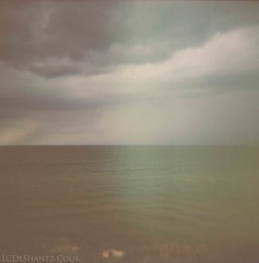 light leak, lake and sky, Holga
