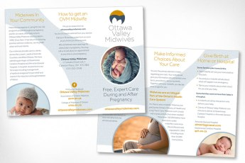 Our local midwifery group, for whom we created branding and a new website in 2015, were finding that there still appeared to be a lack of understanding about midwifery among medical professionals and potential clients. This inviting and informative brochure was produced for distribution in medical offices and for outreach in the community.