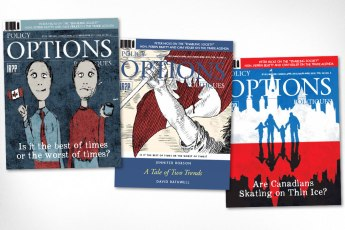 Three cover design concepts for 2015 May/June issue of Policy Options magazine based on cover story relating to debate as to whether or not Canadians are better off or not after 10 years of Harper government. First two designs are based on the novel A Tale of Two Cities by Charles Dickens.