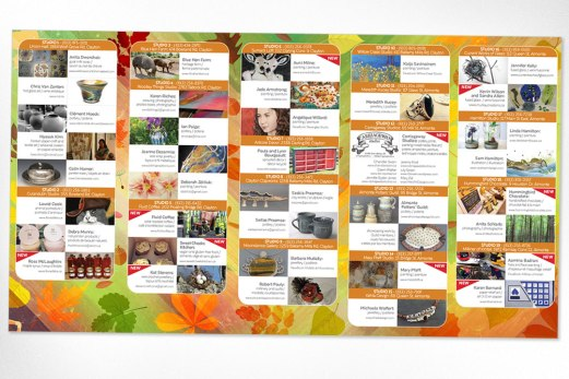 The new promotional brochure for the local studio tour needed to showcase a host of different artists and vendors in a way that viewers could easily and quickly identify the different studios as well as see the various offerings featured at each one.
