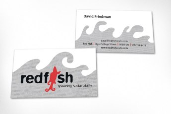 Business cards designed for sustainable seafood restaurant RedFish in Toronto (sadly now defunct). A background graphic was developed in the shape of waves with the texture of overlapped newspaper, a nod to traditional fish and chips. Logo was also designed at Sumack Loft.