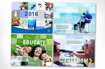 Concept, art direction, and design of calendar for the Royal Bank of Canada (while working at Pi Media in Toronto). A compelling mosaic design was created for all image areas with beautiful stock photography, big aspirational words, and engaging quotations.