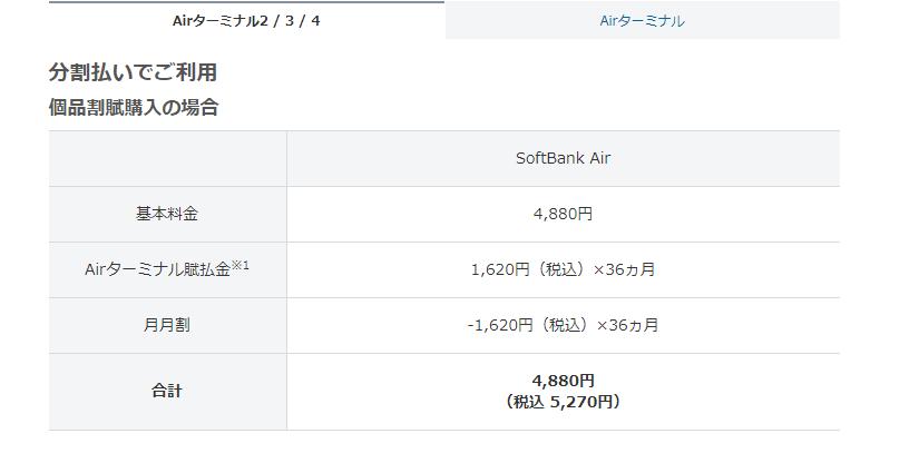 ソフトバンクエアー料金