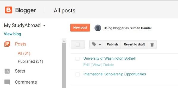 Blogger new post image
