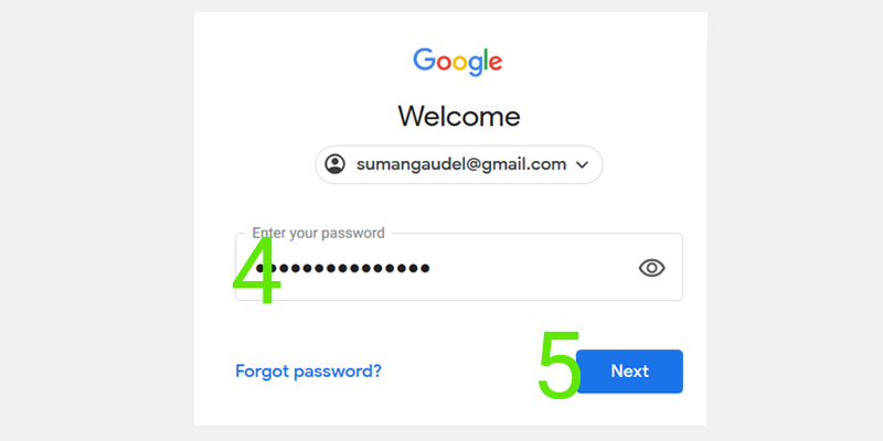 Enter password for google classrom