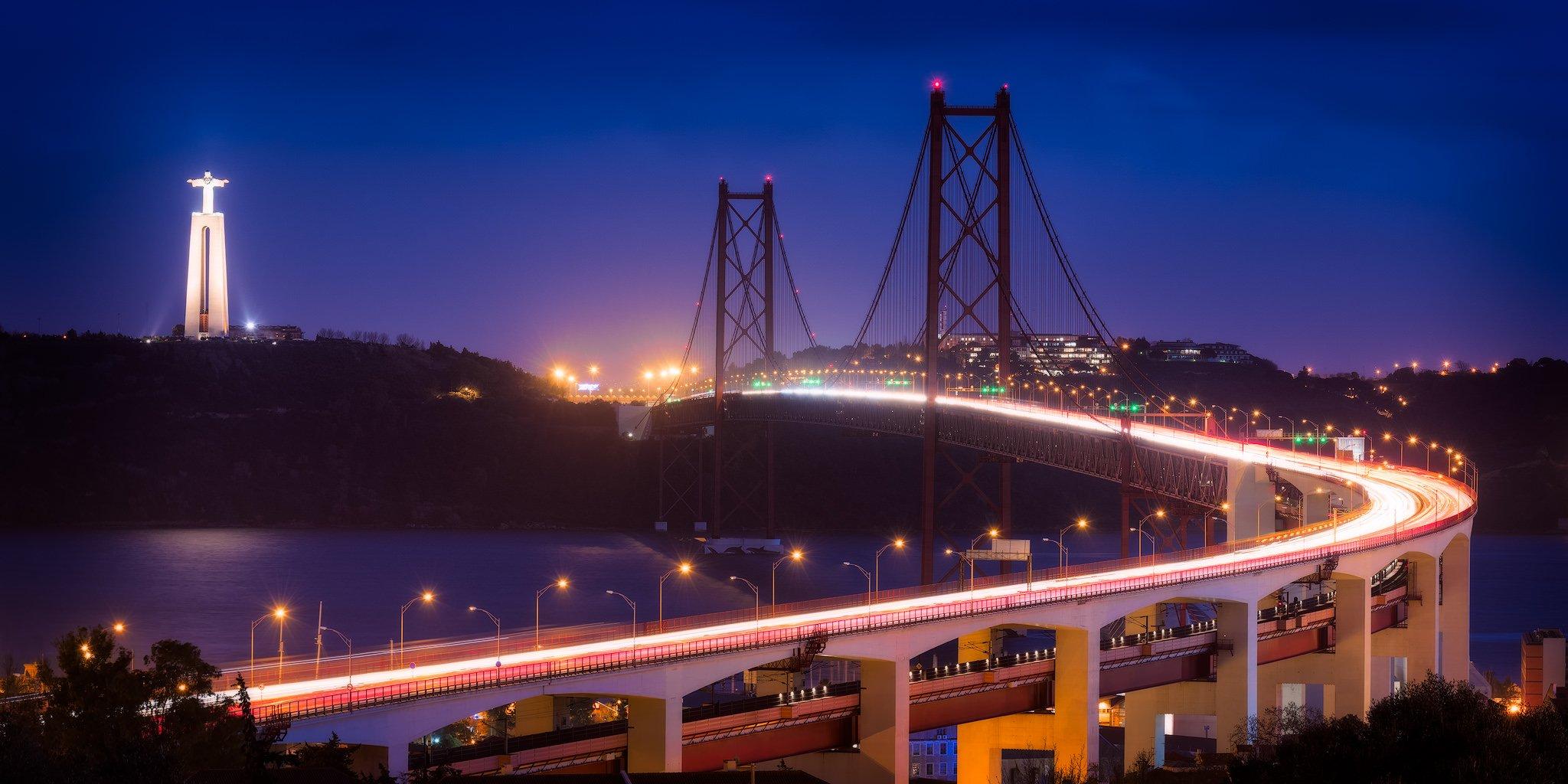 Most 25 de Abril i posąg Chrystusa Króla | Lizbona, Portugalia