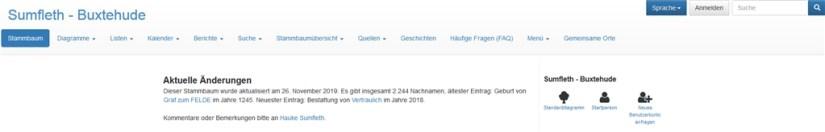 Webtrees Datenbank - Sumfleth - Buxtehude