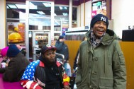 Rapper and Soundtrack Producer Dante Stevenson, who goes by $leezus and Soulebrity, shops for shoes with his friend, Sasha St John, in the Bronx, NYC, 02/28/2014 ©Sumi Naidoo, 2014