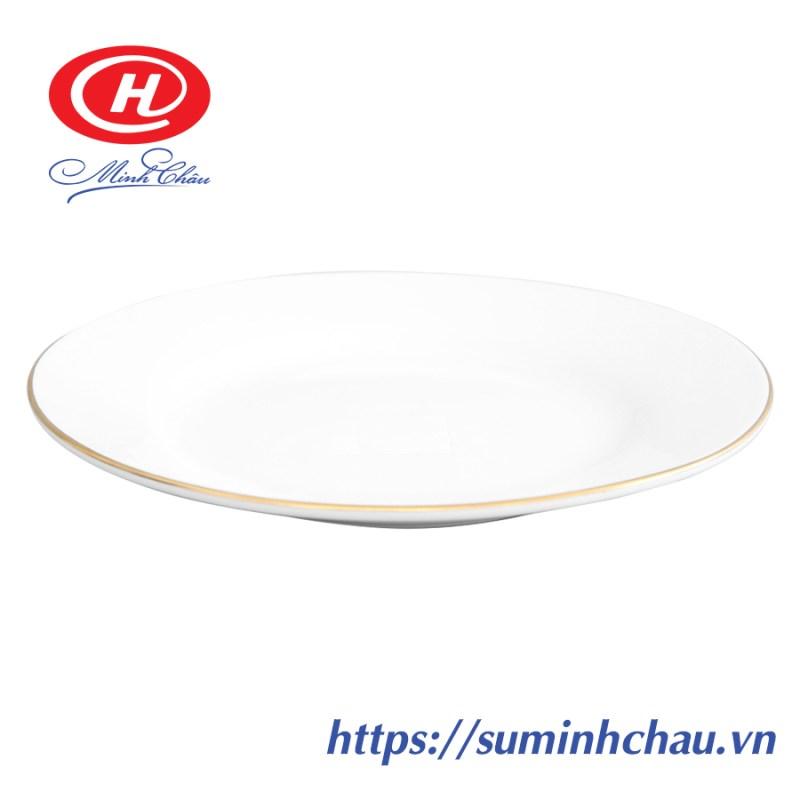 Đĩa bằng Sứ Minh Châu Chỉ Vàng