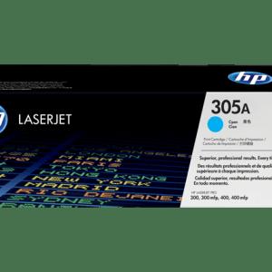 TONER HP 305A CYAN CE411A, Color: Cian, Compatibilidad. HP LASERJET PRO 300/400, Rendimiento: 2600 páginas.