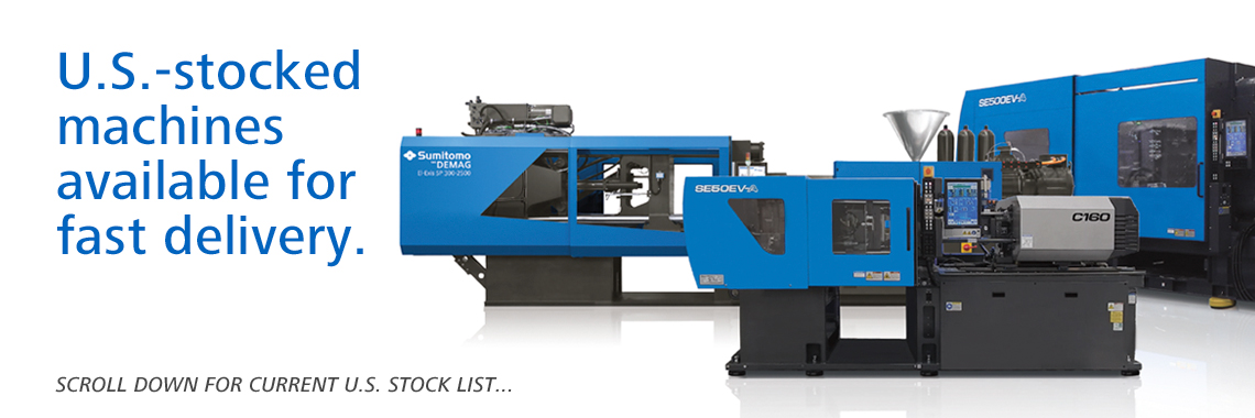 U.S. stocked injection molding machines available for fast delivery