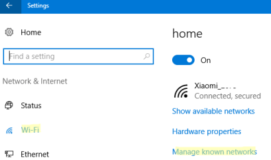 windows 10 control panel manage known wifi networks
