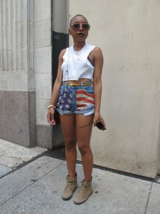 Why? Ratissia is totally representing with her American flag shorts, keeping it classy with the high waist, and keeping it cool with the rough hem.