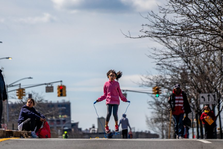 A photo of the open streets pilot on Grand Concourse in The Bronx