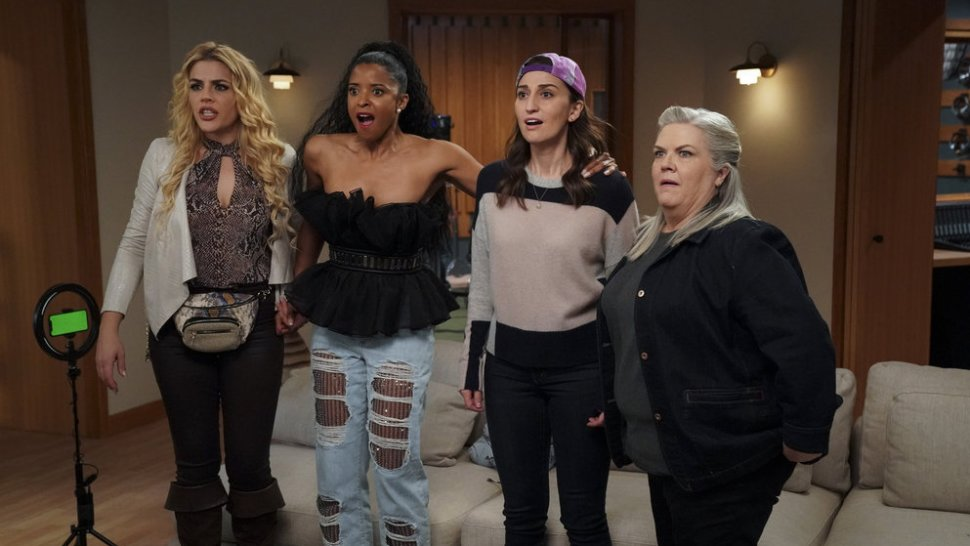 Busy Philipps as Summer, Renée Elise Goldsberry, Sara Bareilles, and Paula Pell in <i data-recalc-dims=