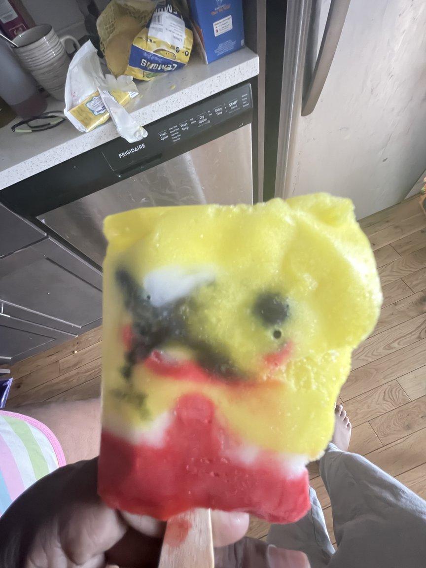A rapidly melting Spongebob popsicle.