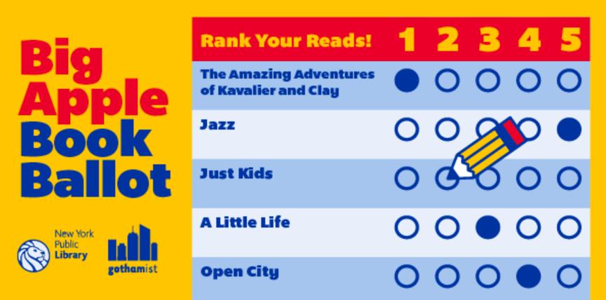 Logo for Big Apple Book Ballot showing book choices