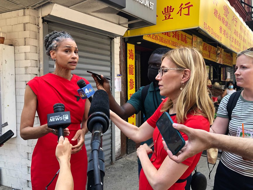 Maya Wiley addressed reporters after a get out the vote rally in Chinatown on Sunday, June 20.