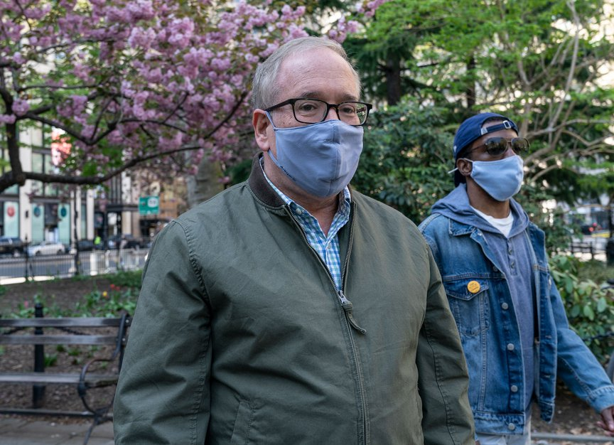 Scott Stringer arrives in City Hall Park on Saturday for a campaign rally.