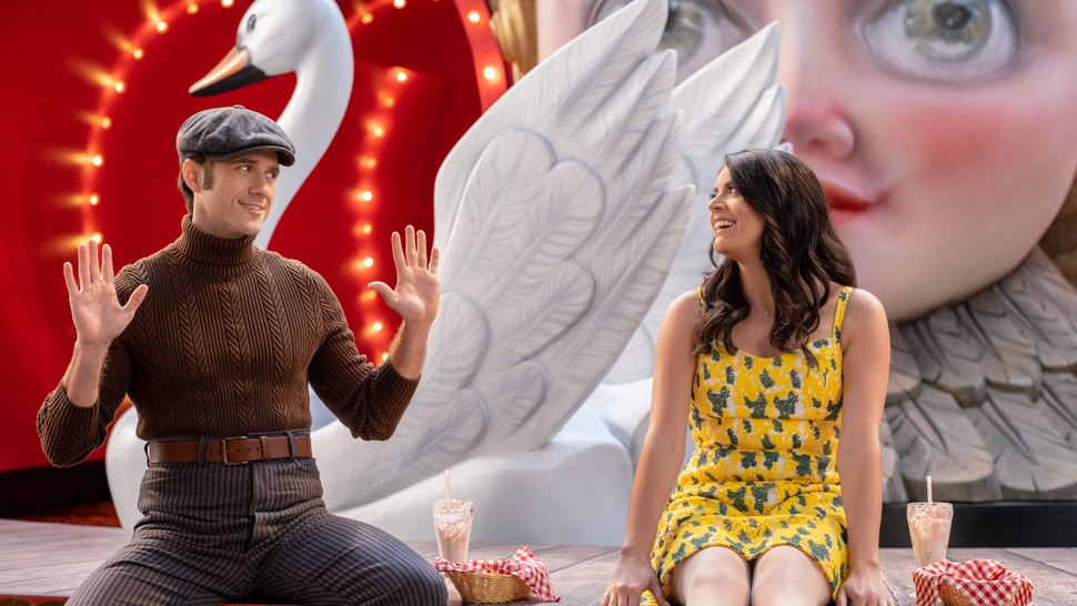 Aaron Tveit and Cecily Strong in <i data-recalc-dims=