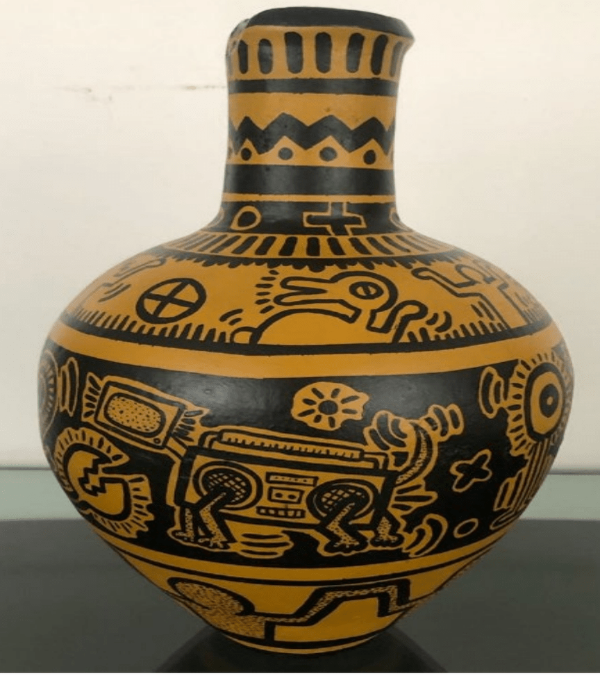 An auction house was approached to sell this forged vase allegedly by Keith Haring. The vase is orange and covered in bold black drawings of human and animal figures.