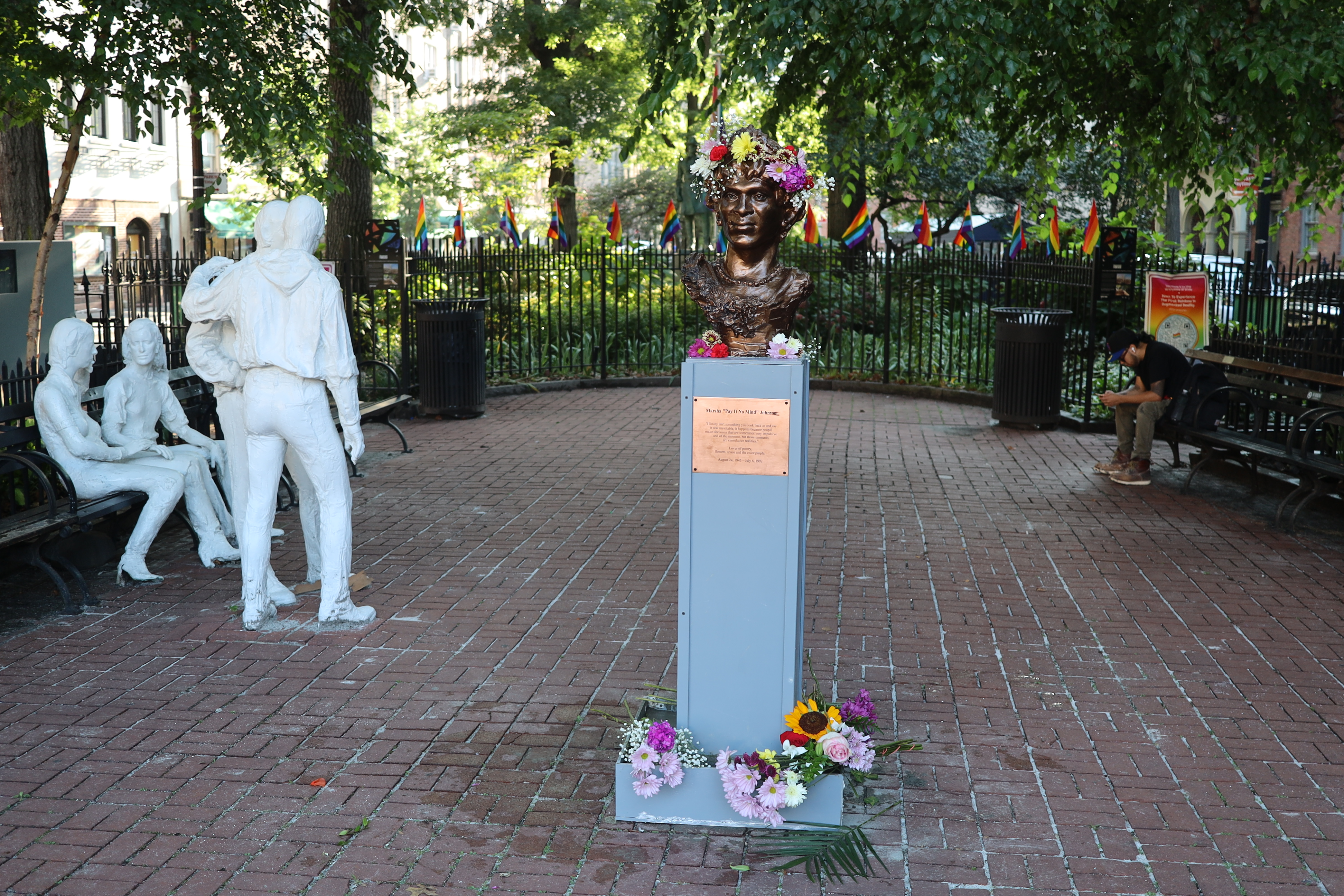 The new Marsha P Johnson bust in Christopher Park, with the Gay Liberation Monument in the background.
