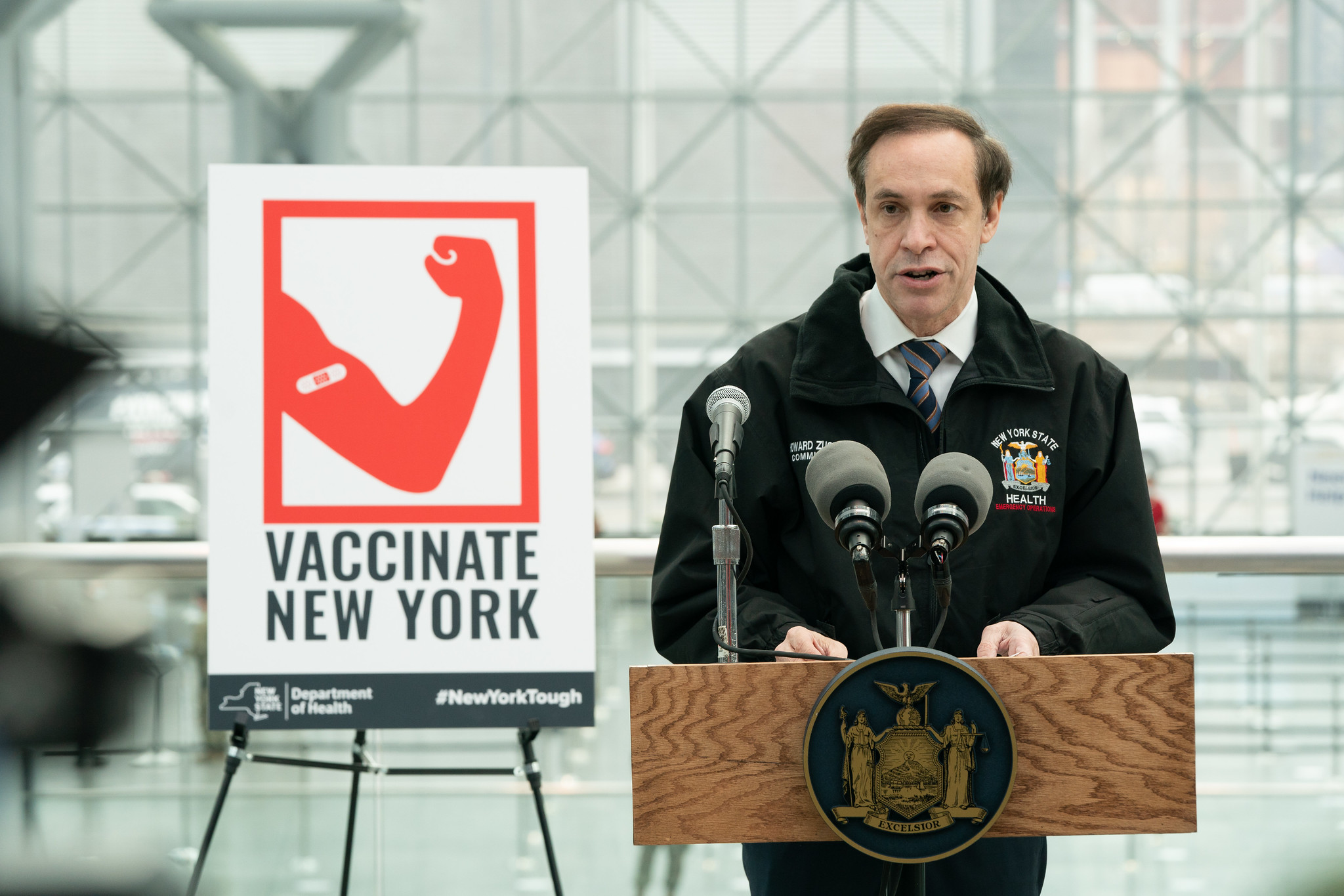 Commissioner Howard Zucker at the opening of the Javits Center mass vaccination site in Manhattan, January 13th, 2021