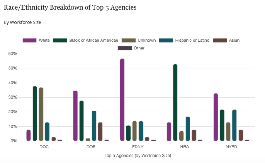 A chart from the study showing racial and gender pay disparity at city agencies