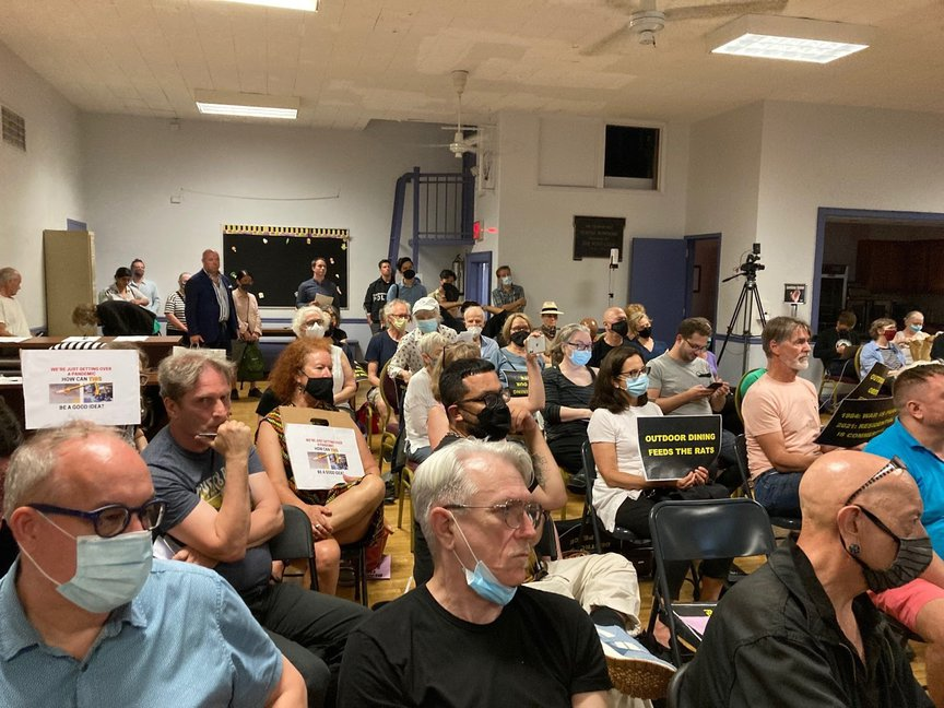 Opponents of making Open Restaurants permanent came out in force last month during a meeting in the East Village.