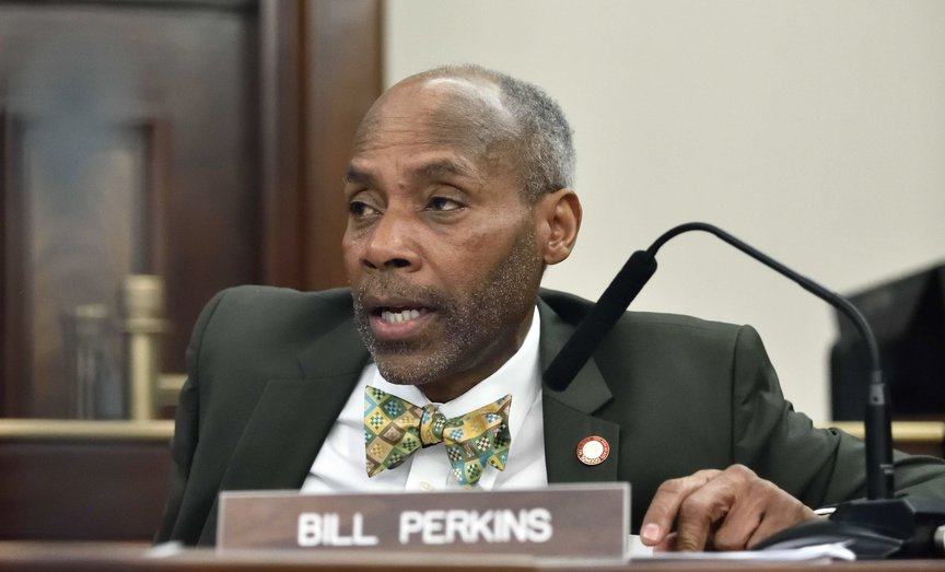 Bill Perkins, a Councilmember for the 9th Council District, sits inside the New York City Council chambers in March 2018.